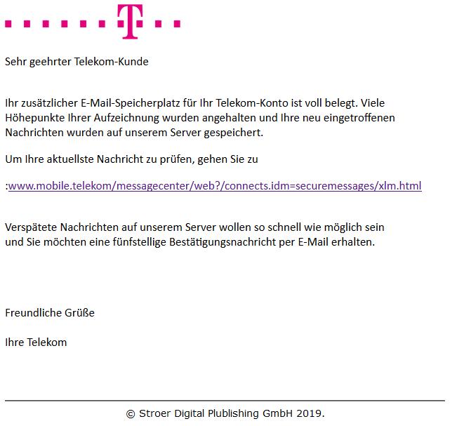 Beispiel einer gefälschten T-Online - E-Mail