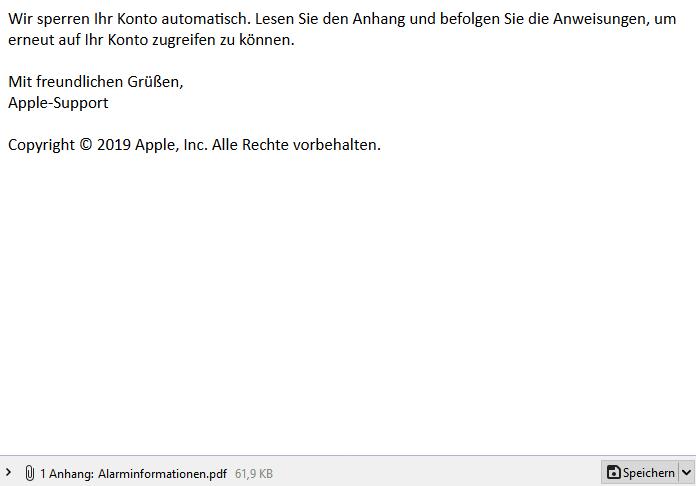 Spam - E-Mail mit gefährlichem Anhang