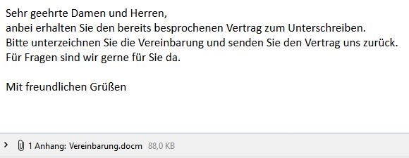 E-Mail mit einem gefährlichen Office - Dokumenten- Anhang