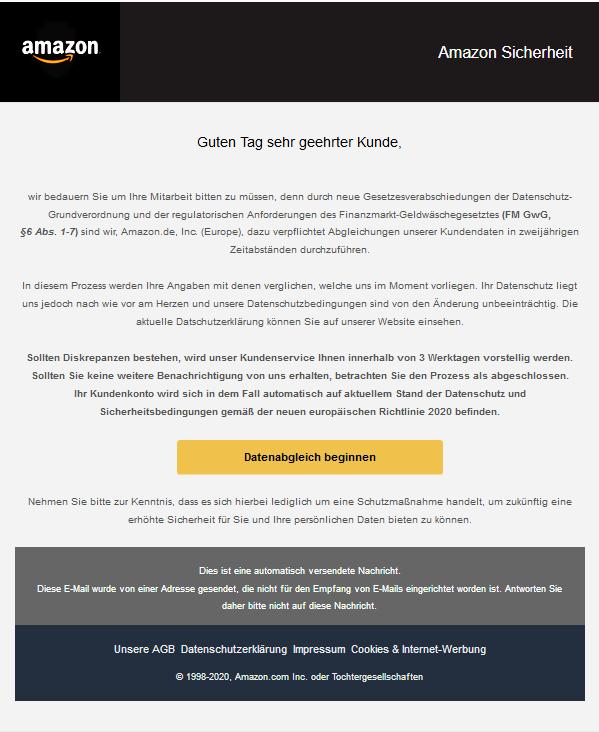 Muster einer Phishing - E-Mail