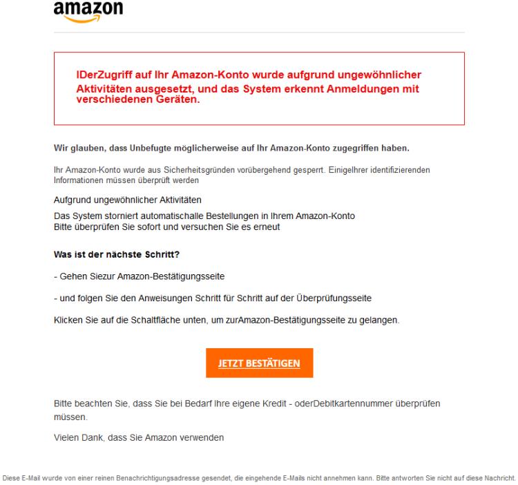 Beispiel einer weiteren Phishing - E-Mail (Eine Amazon E-Mail wird vorgegaukelt)