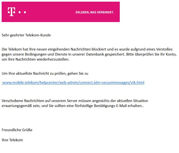 Ein weiteres Beispiel gefälschter t-online - E-Mail