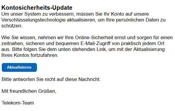 Vermeintliches Sicherheitsupdate ist eine Phishing E-Mail