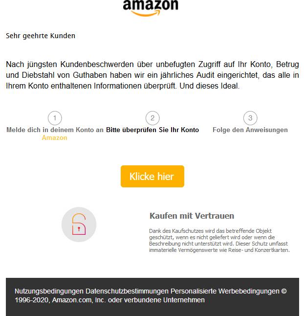 Eine besonders freche Phishing E-Mail im Umlauf