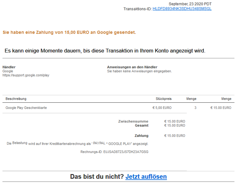 Phishing - E-Mail: Beispiel