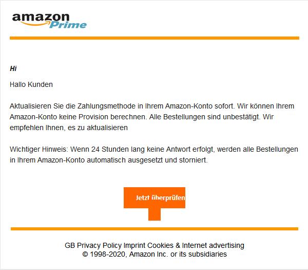 Beispiel einer Phishing - E-Mail