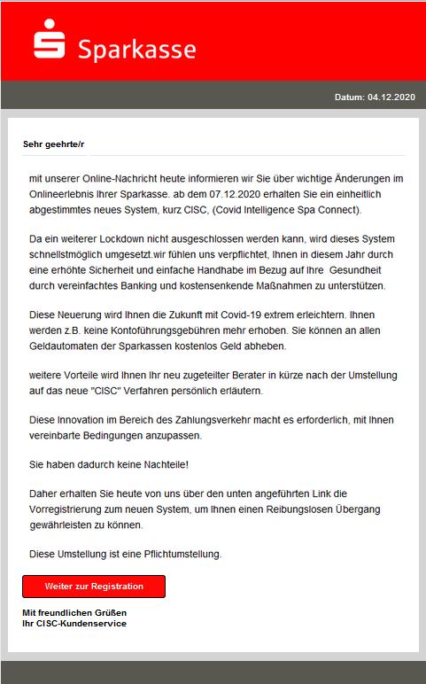 Phishing E-Mail: Das neue CISC-System