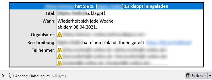 Beispiel einer Phishing- E-Mail mit Termineinladung