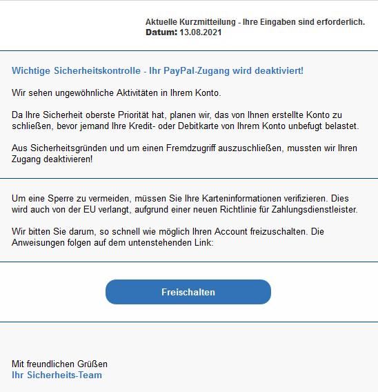 Neues Beispiel einer Phishing - E-Mail