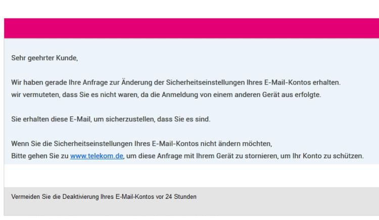 Gefährliche Phishing - E-Mail